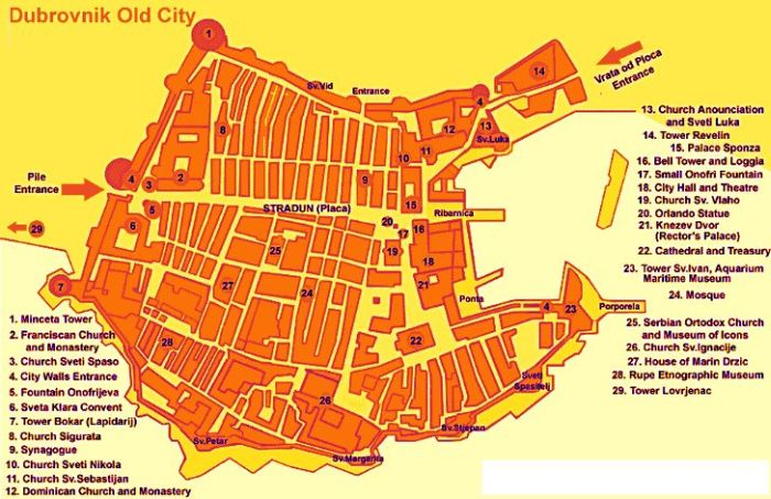 Map Of Dubrovnik Tourist Map of Dubrovnik, Croatia | Croatia Wise